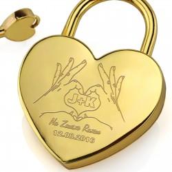 grawer personalizacji na złotej kłódce miłości na walentynki dla pary zakochanych