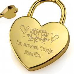 grawer personalizacji na złotej kłódce miłości na walentynki dla męża