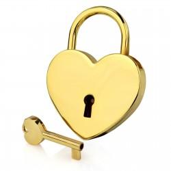złota kłódka z kluczykiem na upominek walentynkowy