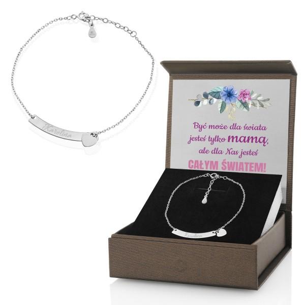 srebrna bransoletka z grawerem na prezent dla mamy