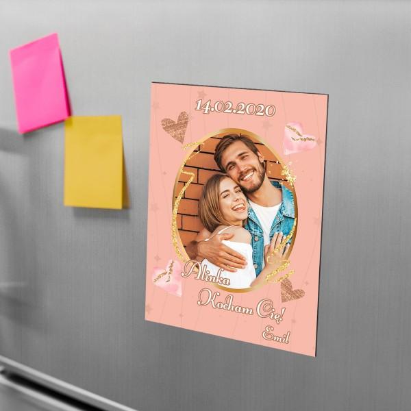 Magnes ze zdjęciem, na lodówkę z nadrukiem daty i życzeń