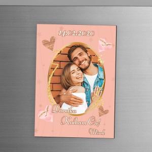Personalizowany duży magnes ze zdjęciem, na lodówkę na prezent dla zakochanych