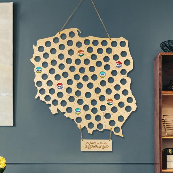 Mapa piwosza ze sklejki drewnianej z personalizacją