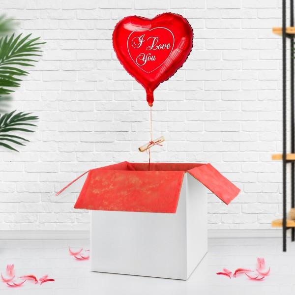 Balon z helem na walentynki z listem miłosnym