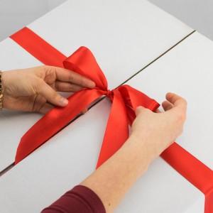 biały karton udekorowany jest czerwoną kokardą