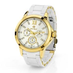 Damski zegarek Gino Rossi z białą bransoletą