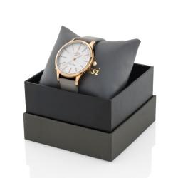 Zegarek Gino Rossi , różowozłoty na szarym pasku w pudełku dekoracyjnym