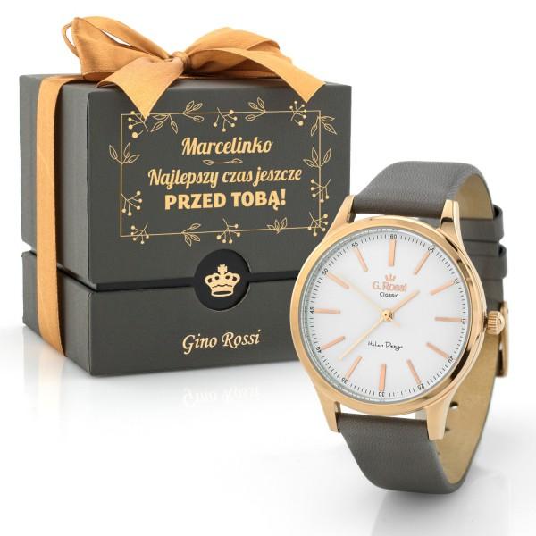 Zegarek ze złotą kopertą gino rossi w pudełku z dedykacją na prezent
