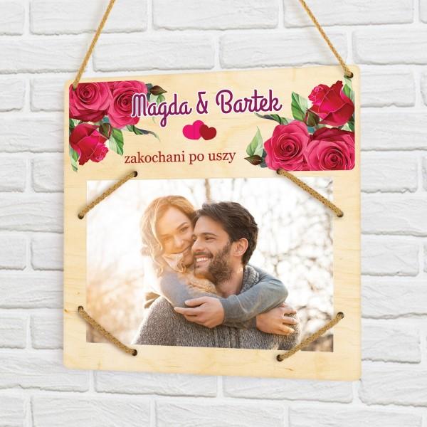 Ramka wisząca z kolorowym nadrukiem ze zdjęciem na prezent dla pary