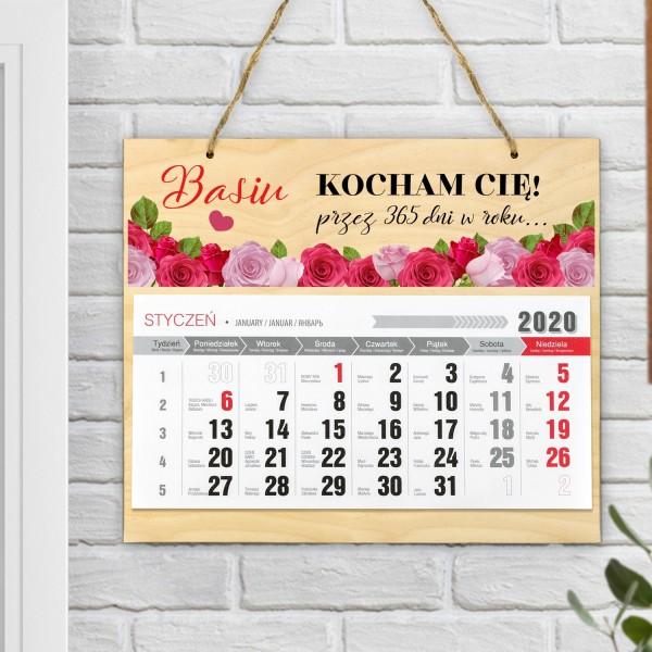 Kalendarz jednodzielny na drewnianej sklejce z nadrukiem dedykacji i imienia