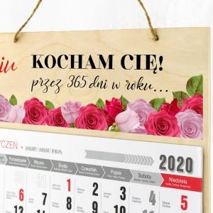 Kalendarz drewniany z nadrukiem kocham + imię