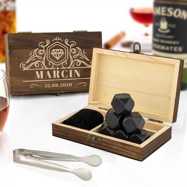 Kamienie do whisky w skrzynce z grawerem dedykacji