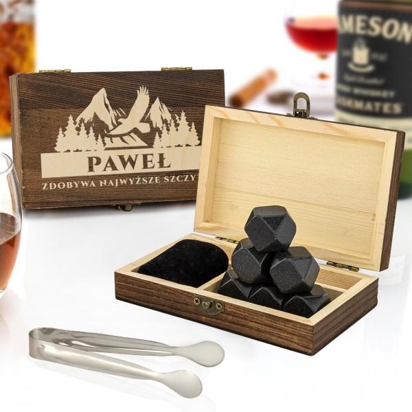 Zestaw prezentowy z kamieniami do whisky w szkatułce