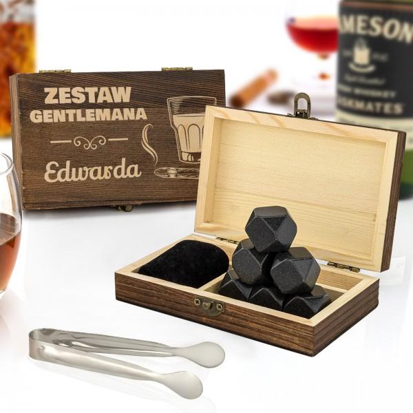 Kamienie chłodzące do whisky w drewnianej szkatułce z grawerem