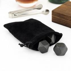 granitowe kamienie do whisky i woreczek welurowy
