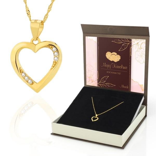 pozłacany naszyjnik serce z dedykacją na prezent dla kobiety
