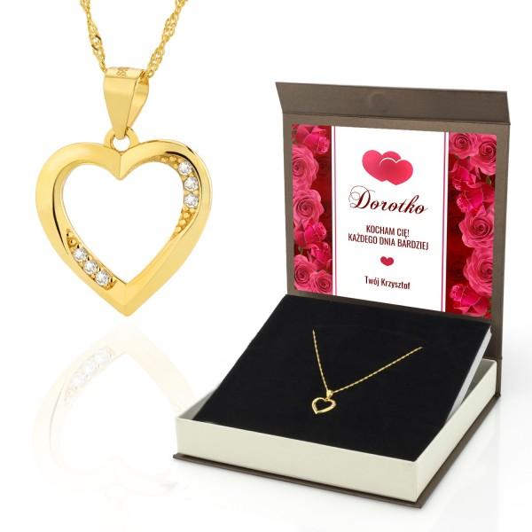 Naszyjnik serduszko złocone w pudełku na prezent dla kobiety na walentynki