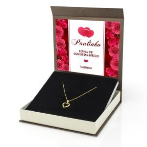 naszyjnik na prezent dla kobiety na walentynki z nadrukiem dedykacji