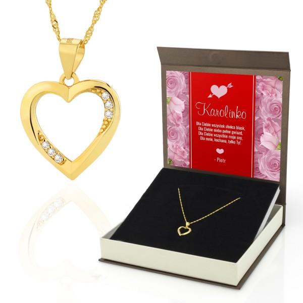 Naszyjnik z serduszkiem srebrny pozłacany w pudełku prezentowym z imienną dedykacją