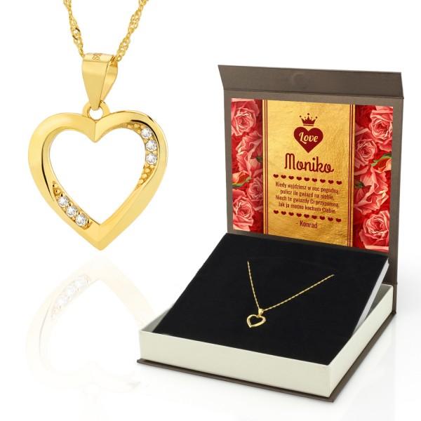 Pozłacany naszyjnik serduszko w pudełku z dedykacją dla kobiety