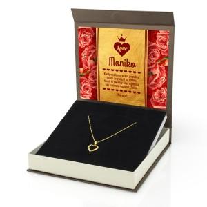 pozłacany srebrny naszyjnik serduszko z pudełkiem z dedykacją