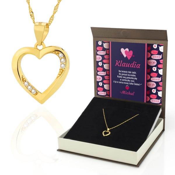 Naszyjnik srebrny z zawieszką w kształcie serca złocony w pudełku na prezent