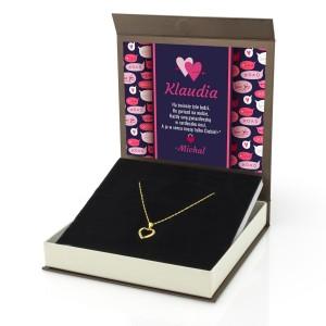 naszyjnik srebrny pozłacany w eleganckim pudełku z nadrukiem dedykacji