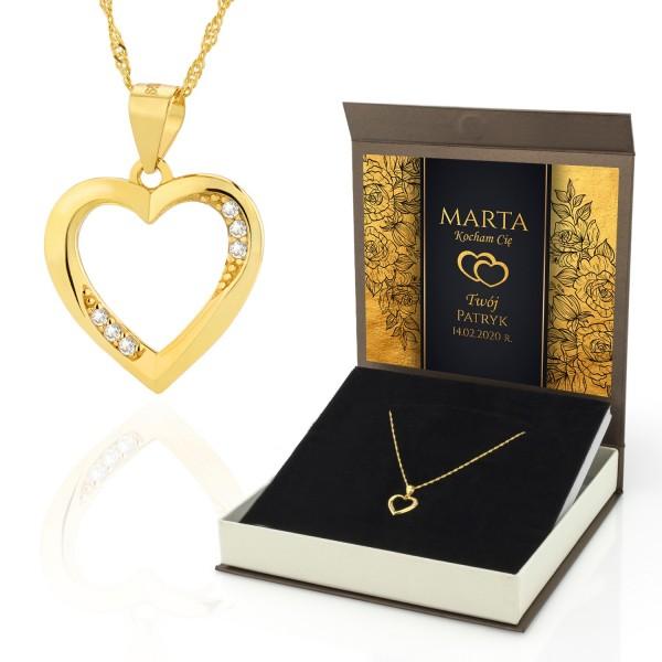 Pozłacany naszyjnik ze srebra w pudełku z dedykacją na prezent dla kobiety