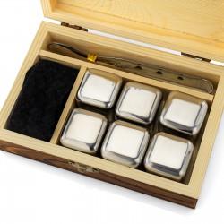 kostki stalowe do drinków , szczypce i woreczek