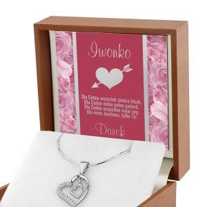 Serduszko srebrne z nadrukiem personalizacji w pudełku prezentowym