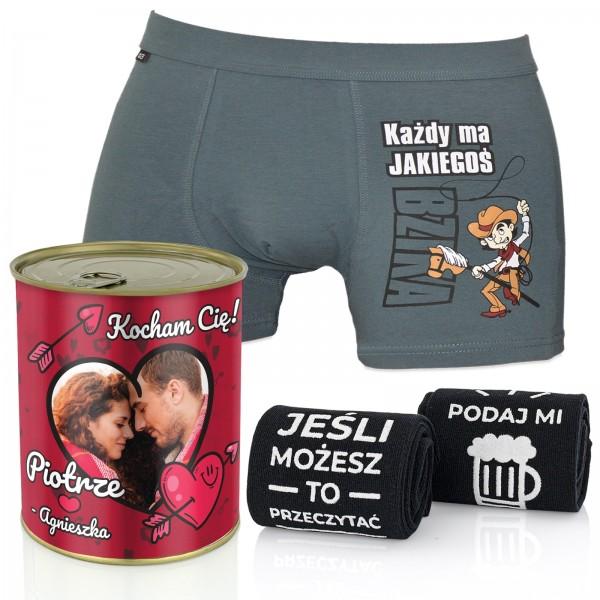 prezent w puszce konserwowej dla faceta - śmieszne bokserki i skarpetki