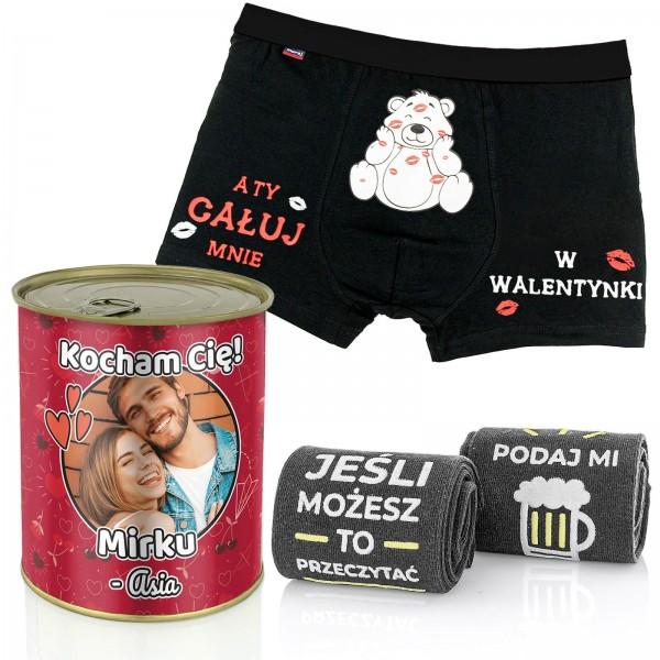prezent dla mężczyzny w puszce konserwowej ze zdjęciem: skarpetki i bokserki