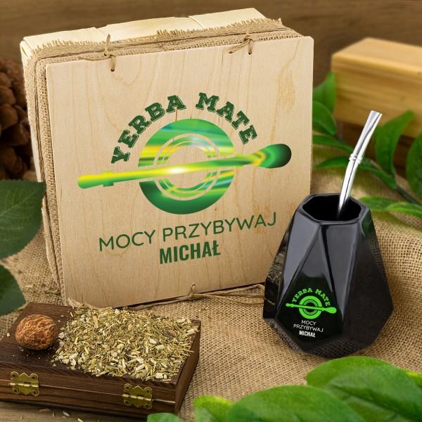 Ceramiczne matero do yerba mate w zestawie z suszem w pudełku z personalizacją