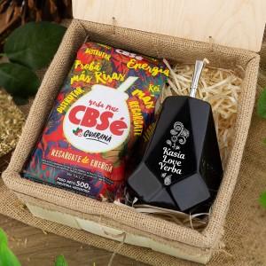 zestaw prezentowy dla miłośnika yerba mate, matero z imieniem + susz cbse