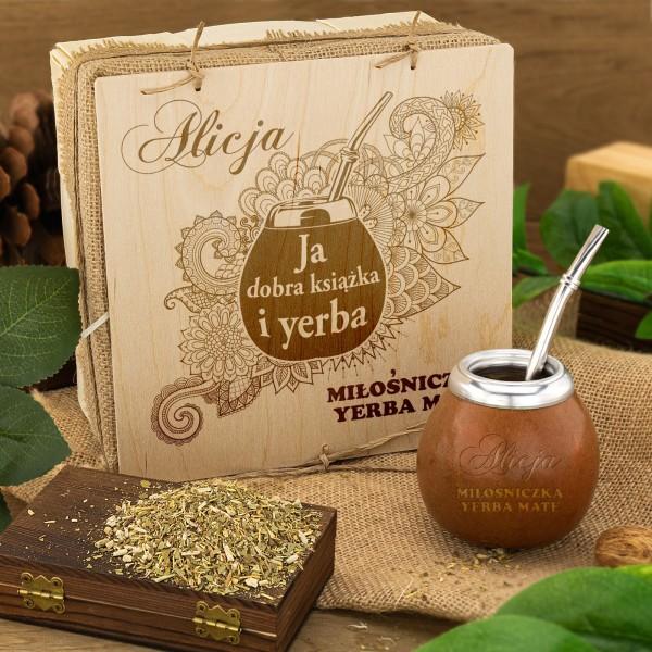 zestaw do picia yerba mate na prezent - w grawerowanym pudełku
