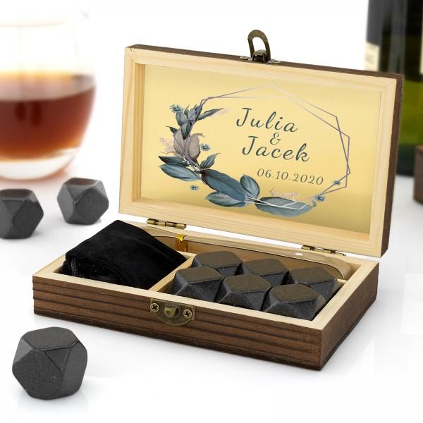 Granitowe kostki do drinków w szkatułce