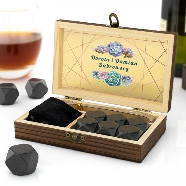 granitowe kostki chłodzące alkohole w szkatułce