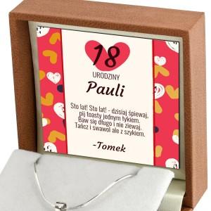 dedykacja wewnątrz pudełka z biżuterią na 18 urodziny