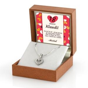biżuteria srebrna serduszko na prezent na 18 urodziny dla dziewczyny