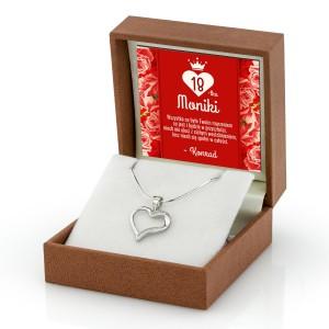 serduszko srebrne na łańcuszku na prezent na 18 urodziny dla dziewczyny