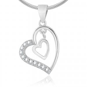Zawieszka srebrna serce na łańcuszek