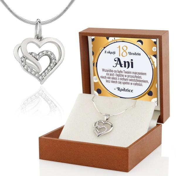 Zawieszka serce srebrne na prezent na 18 urodziny dla córki