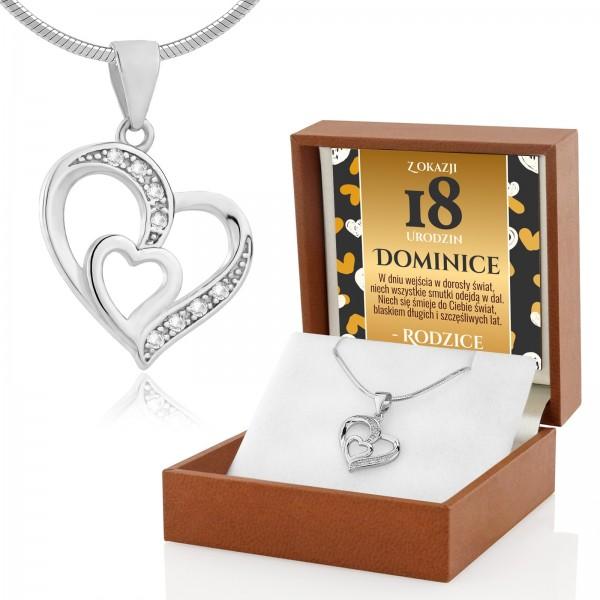 Serce srebrne na łańcuszku na 18 urodziny