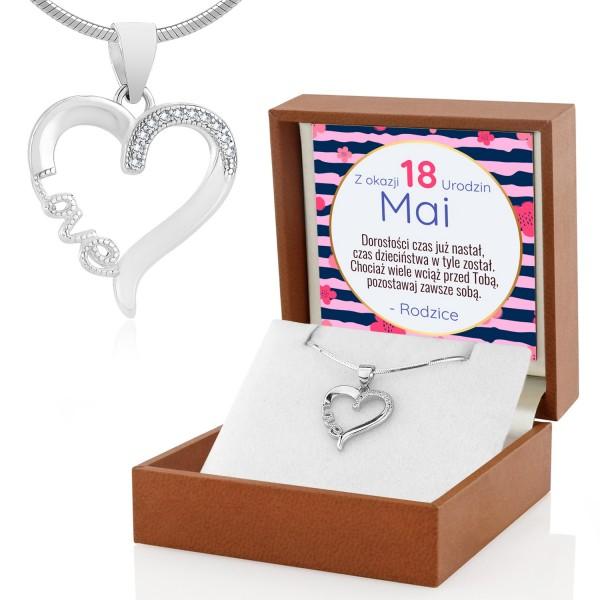 naszyjnik serce srebrne w pudełku z dedykacją na 18 urodziny