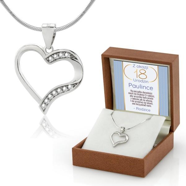 serce srebrne zawieszka na łańcuszku na prezent na 18 urodziny dla córki