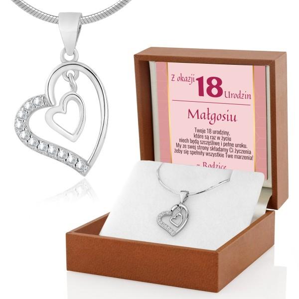 Srebrne serce na łańcuszku w pudełku z dedykacją na 18 urodziny