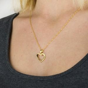 serce złocone naszyjnik w pudełku z dedykacją na 18 urodziny