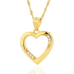 pozłacany łańcuszek i zawieszka w kształcie serca z cyrkoniami