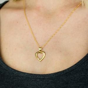 naszyjnik srebrny złocony z zawieszką serce z cyrkoniami
