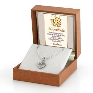 serce srebrne naszyjnik w pudełku z dedykacją na 18 urodziny prezent od rodziców